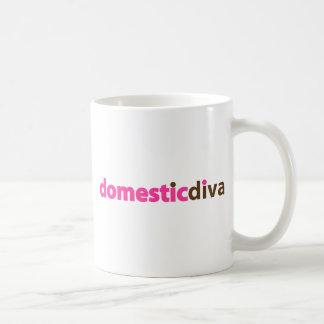 domestic diva (brown) classic white coffee mug