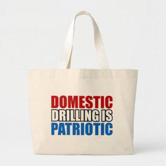 Domestic Drilling is Patriotic Large Tote Bag