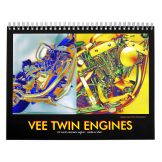 Domestic ed. Vee-twin Motorcycle Engines Wall Calendars