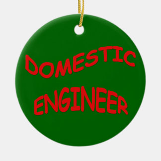 Domestic Engineer - Family Manager Double-Sided Ceramic Round Christmas Ornament