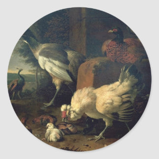 Domestic fowl with a pheasant and peacocks classic round sticker