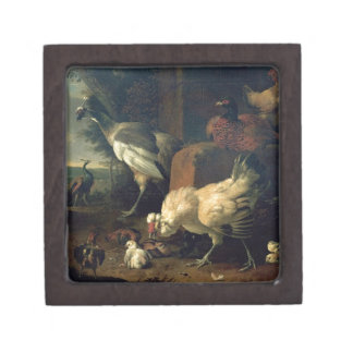 Domestic fowl with a pheasant and peacocks jewelry box