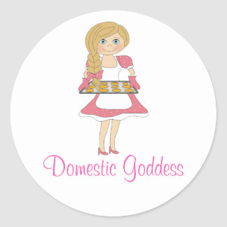 Domestic Goddess (blonde) Classic Round Sticker