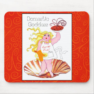 """""""Domestic Goddess"""" - Kiss the Cook! Mouse Pad"""