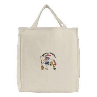 Domestic Goddess Mom Embroidered Tote Bag