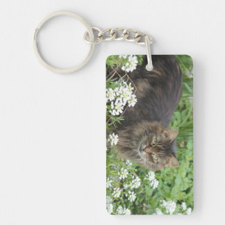 Domestic Long-Haired Cat Keychain