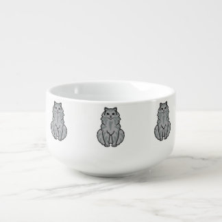 Domestic Longhair Cat Cartoon Soup Mug