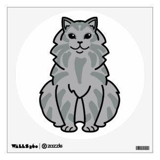 Domestic Longhair Cat Cartoon Wall Decal