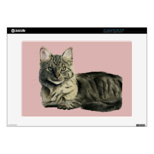"Domestic Medium Hair Cat Watercolor Painting 15"" Laptop Decal"