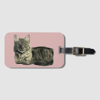Domestic Medium Hair Cat Watercolor Painting Bag Tag