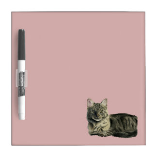 Domestic Medium Hair Cat Watercolor Painting Dry-Erase Board