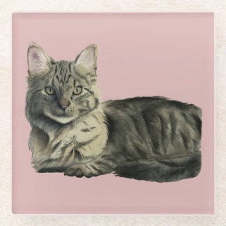 Domestic Medium Hair Cat Watercolor Painting Glass Coaster