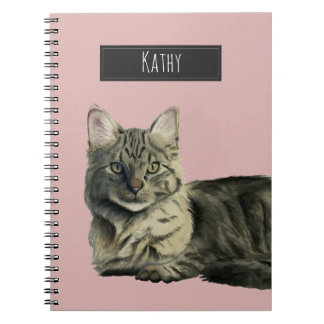Domestic Medium Hair Cat Watercolor Painting Notebook