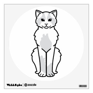 Domestic Mediumhair Cat Cartoon Wall Sticker