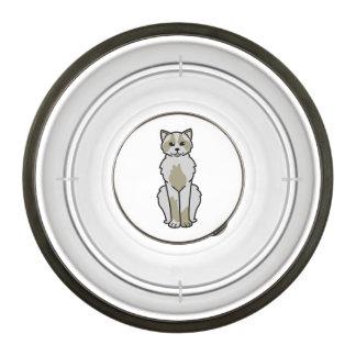 Domestic Mediumhair Cat Cartoon Pet Bowl