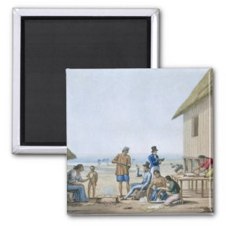 Domestic occupations, Agagna, Guam, Philippines, f 2 Inch Square Magnet
