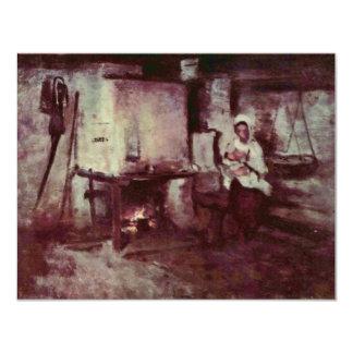 Domestic Stove In Rucar By Grigorescu Nicolae 4.25x5.5 Paper Invitation Card