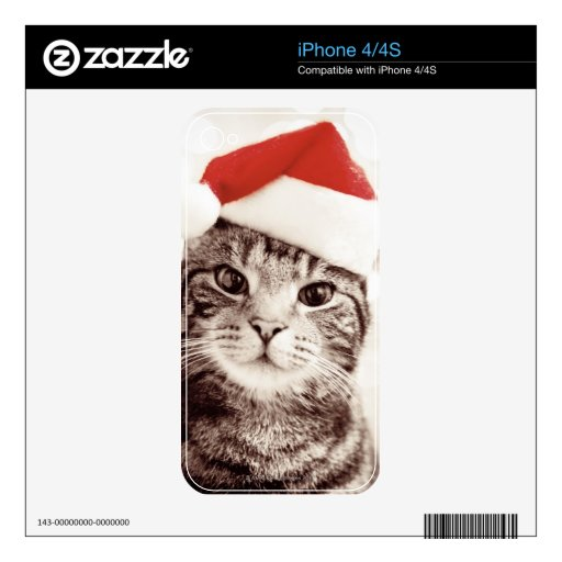 foto de Domestic tabby cat wearing red Christmas hat Skins For