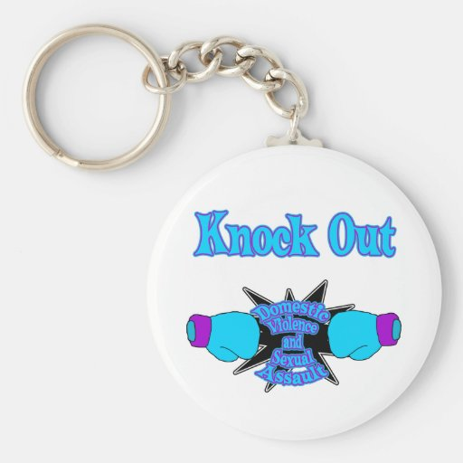 Domestic Violence and sexual assault Basic Round Button Keychain