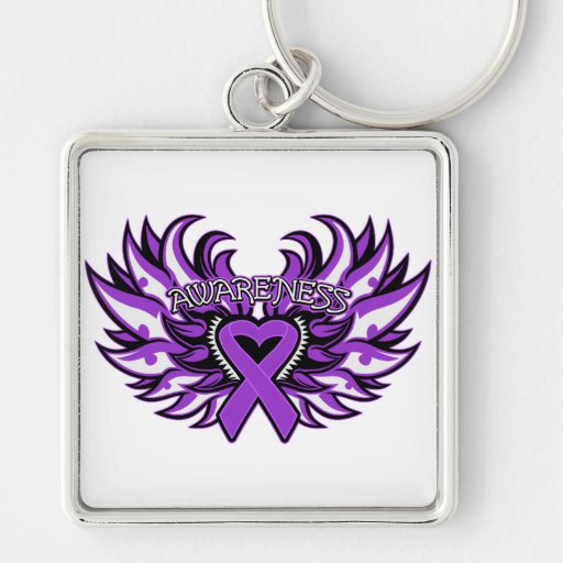 Domestic Violence Awareness Heart Wings Key Chain