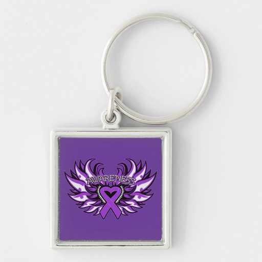 Domestic Violence Awareness Heart Wings Keychain