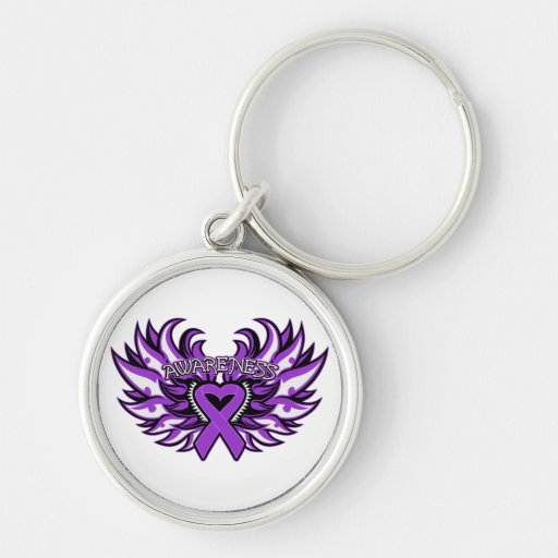 Domestic Violence Awareness Heart Wings Keychains
