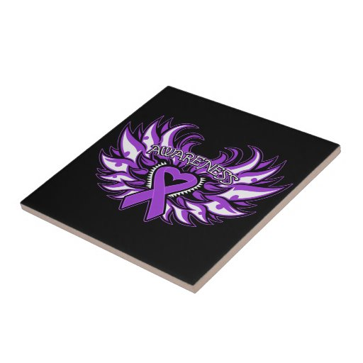 Domestic Violence Awareness Heart Wings Tile