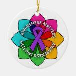Domestic Violence Awareness Matters Petals Ceramic Ornament