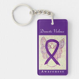 Domestic Violence Awareness Ribbon Angel Keychain