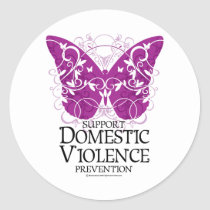 Domestic Violence Butterfly Classic Round Sticker