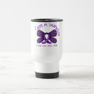 Domestic Violence Butterfly I Am A Survivor 15 Oz Stainless Steel Travel Mug