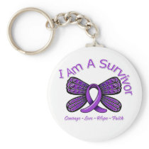 Domestic Violence Butterfly I Am A Survivor Basic Round Button Keychain