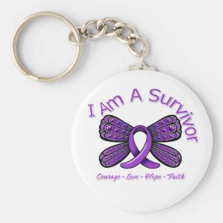 Domestic Violence Butterfly I Am A Survivor Basic Round Button Keychain