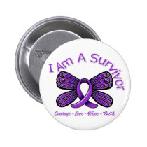 Domestic Violence Butterfly I Am A Survivor Button