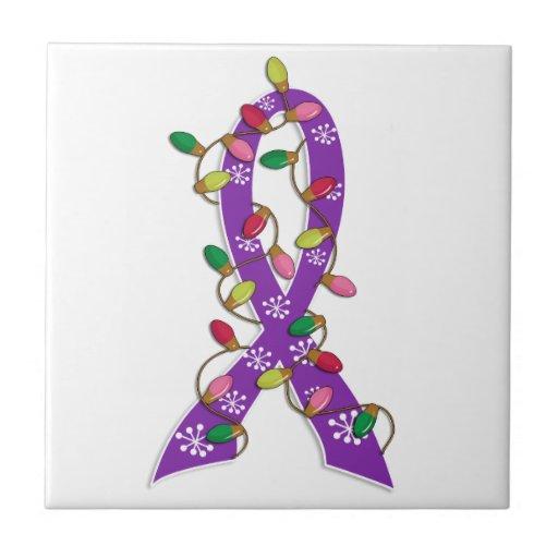 Domestic Violence Christmas Lights Ribbon Ceramic Tile