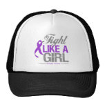 Domestic Violence Ribbon - Fight Like a Girl Mesh Hats