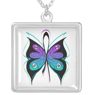 Domestic Violence Sexual Assault Awareness Ribbon Square Pendant Necklace