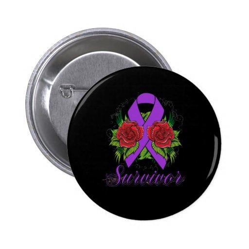 Domestic Violence Survivor Rose Grunge Tattoo Pinback Buttons
