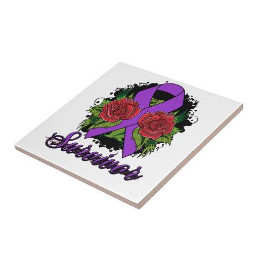 Domestic Violence Survivor Rose Grunge Tattoo Tile