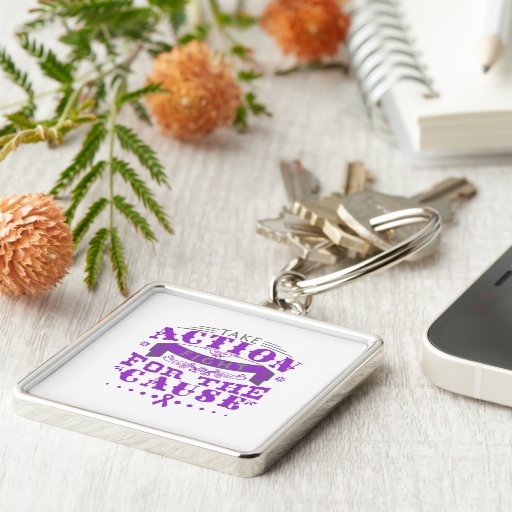 Domestic Violence Take Action Fight For The Cause Key Chain