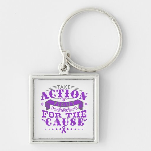 Domestic Violence Take Action Fight For The Cause Keychain