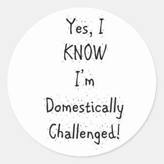 Domestically Challenged Classic Round Sticker
