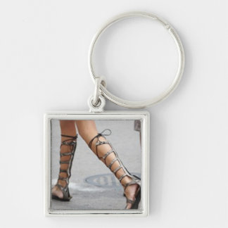 DOMINANT SANDALS Silver-Colored SQUARE KEYCHAIN