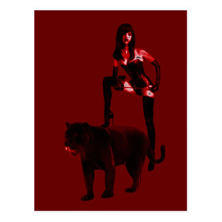 DOMINATRIX and Her Panther (Red Neon) Postcard