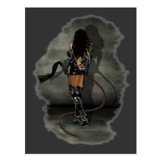 Dominatrix with Whips (Gray) Postcard
