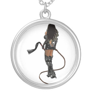 Dominatrix with Whips Silver Plated Necklace