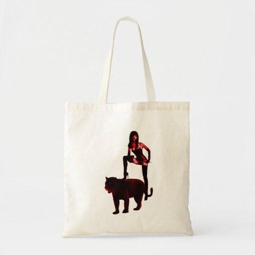 DOMINATRIX y su pantera (neón rojo) Bolsa Tela Barata