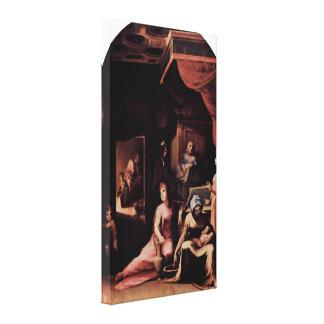 Domingo di Pace Beccafumi - detalle del nacimiento Impresión De Lienzo