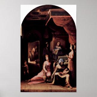 Domingo di Pace Beccafumi - detalle del nacimiento Impresiones