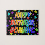 "[ Thumbnail: ""Dominic"" First Name, Fun ""Happy Birthday"" Jigsaw Puzzle ]"